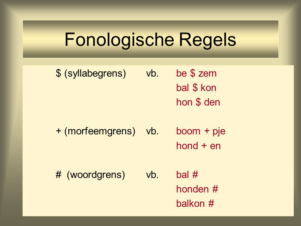 20 Fonologische Regels $ (syllabegrens)vb.