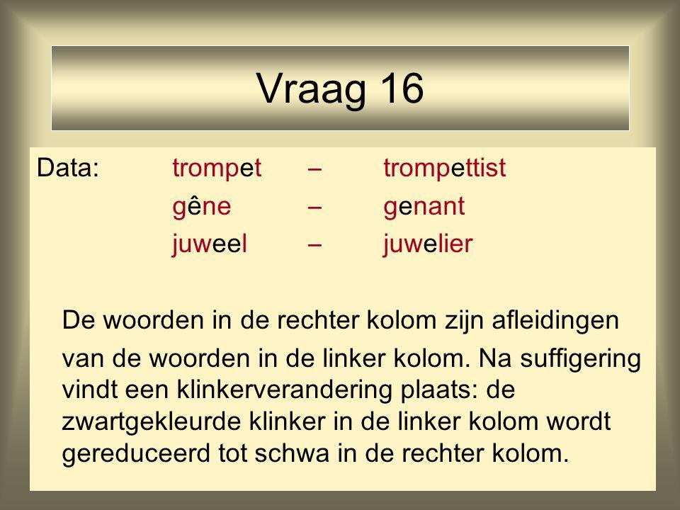 21 Vraag 16 Data: trompet – trompettist gêne – genant juweel – juwelier De woorden in de rechter kolom zijn afleidingen van de woorden in de linker kolom.