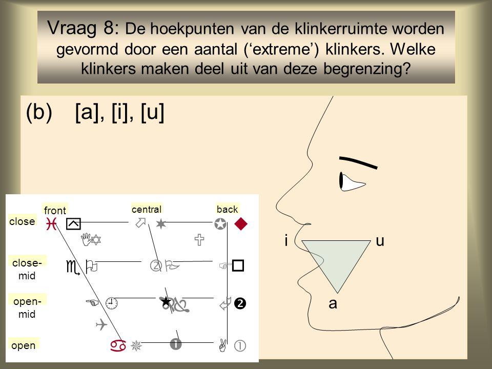 9 (b)[a], [i], [u] Vraag 8: De hoekpunten van de klinkerruimte worden gevormd door een aantal ('extreme') klinkers.