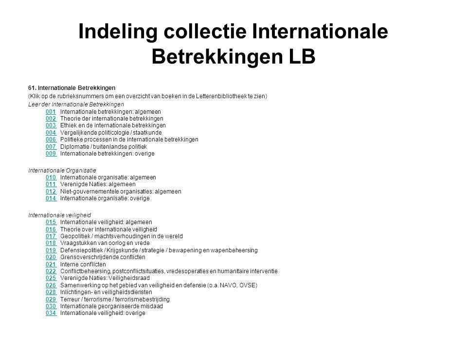 Indeling collectie Internationale Betrekkingen LB 61. Internationale Betrekkingen (Klik op de rubrieksnummers om een overzicht van boeken in de Letter