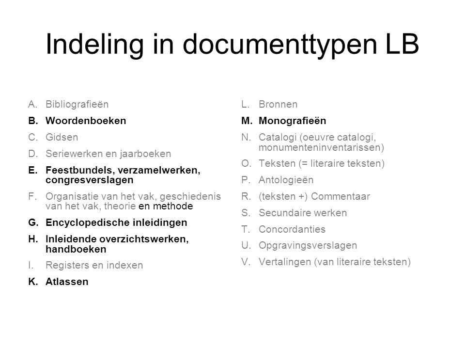 Indeling in documenttypen LB A.Bibliografieën B. Woordenboeken C. Gidsen D. Seriewerken en jaarboeken E. Feestbundels, verzamelwerken, congresverslage