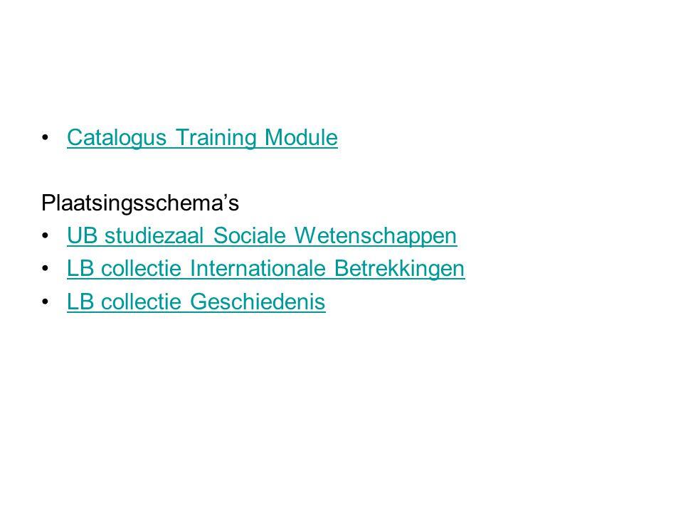 Catalogus Training Module Plaatsingsschema's UB studiezaal Sociale Wetenschappen LB collectie Internationale Betrekkingen LB collectie Geschiedenis