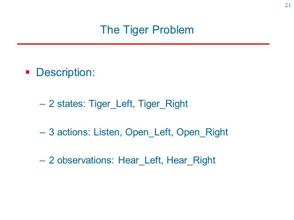 21 The Tiger Problem  Description: –2 states: Tiger_Left, Tiger_Right –3 actions: Listen, Open_Left, Open_Right –2 observations: Hear_Left, Hear_Righ