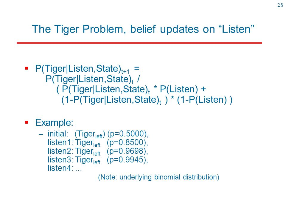 "28 The Tiger Problem, belief updates on ""Listen""  P(Tiger|Listen,State) t+1 = P(Tiger|Listen,State) t / ( P(Tiger|Listen,State) t * P(Listen) + (1-P("