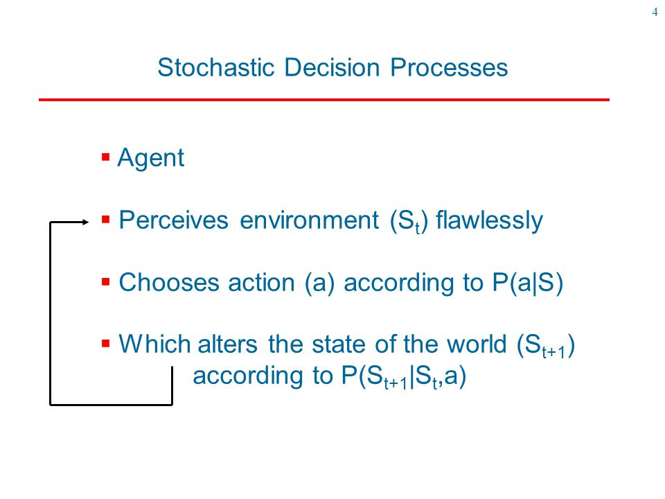 4 Stochastic Decision Processes  Agent  Perceives environment (S t ) flawlessly  Chooses action (a) according to P(a|S)  Which alters the state of