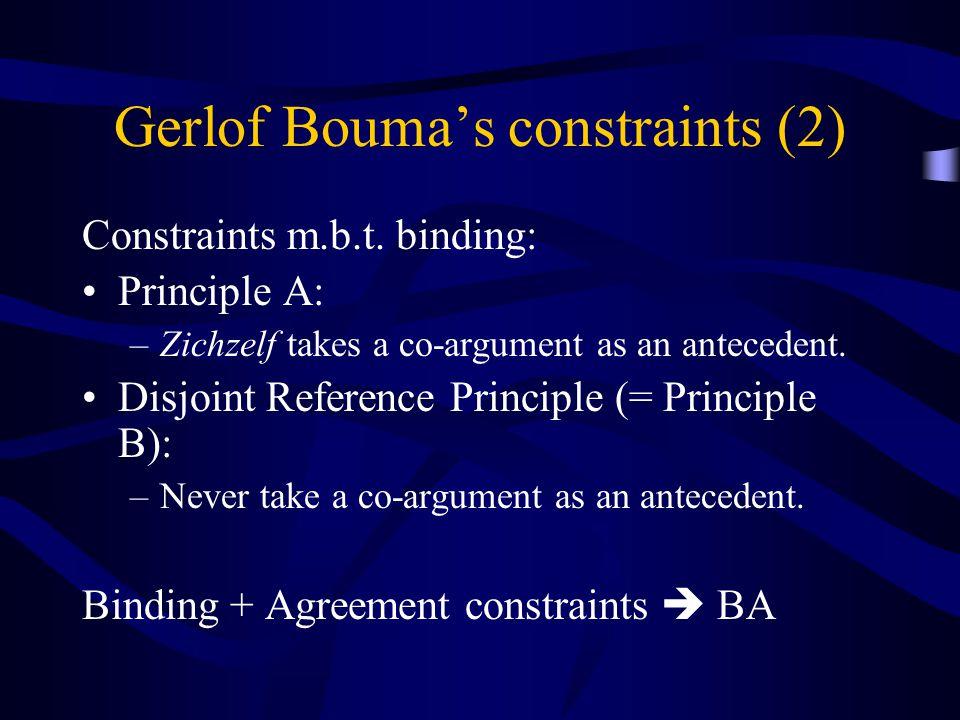 Gerlof Bouma's constraints (2) Constraints m.b.t. binding: Principle A: –Zichzelf takes a co-argument as an antecedent. Disjoint Reference Principle (