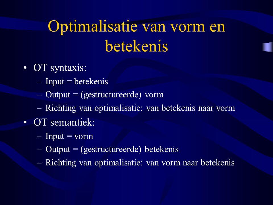 Optimalisatie van vorm en betekenis OT syntaxis: –Input = betekenis –Output = (gestructureerde) vorm –Richting van optimalisatie: van betekenis naar v