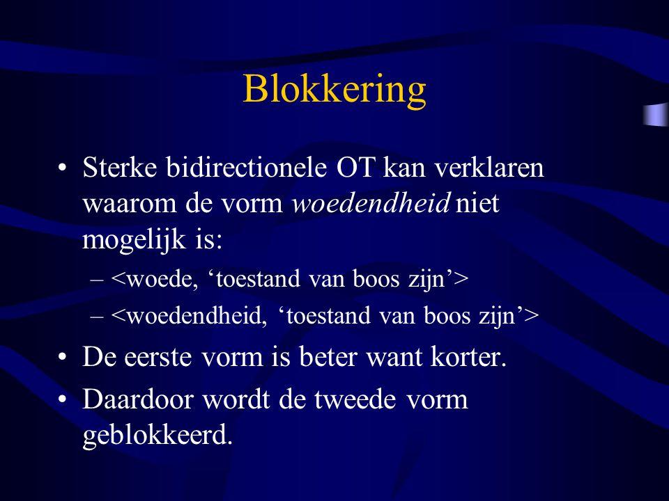 Blokkering Sterke bidirectionele OT kan verklaren waarom de vorm woedendheid niet mogelijk is: – De eerste vorm is beter want korter. Daardoor wordt d