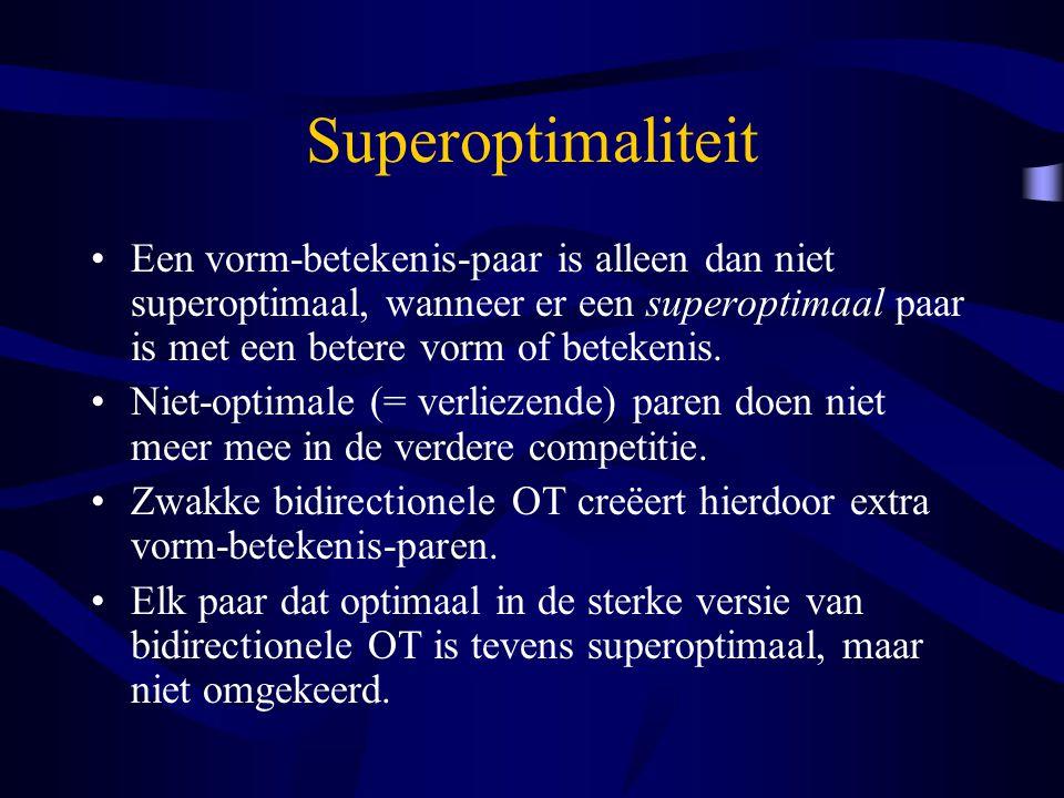 Superoptimaliteit Een vorm-betekenis-paar is alleen dan niet superoptimaal, wanneer er een superoptimaal paar is met een betere vorm of betekenis.