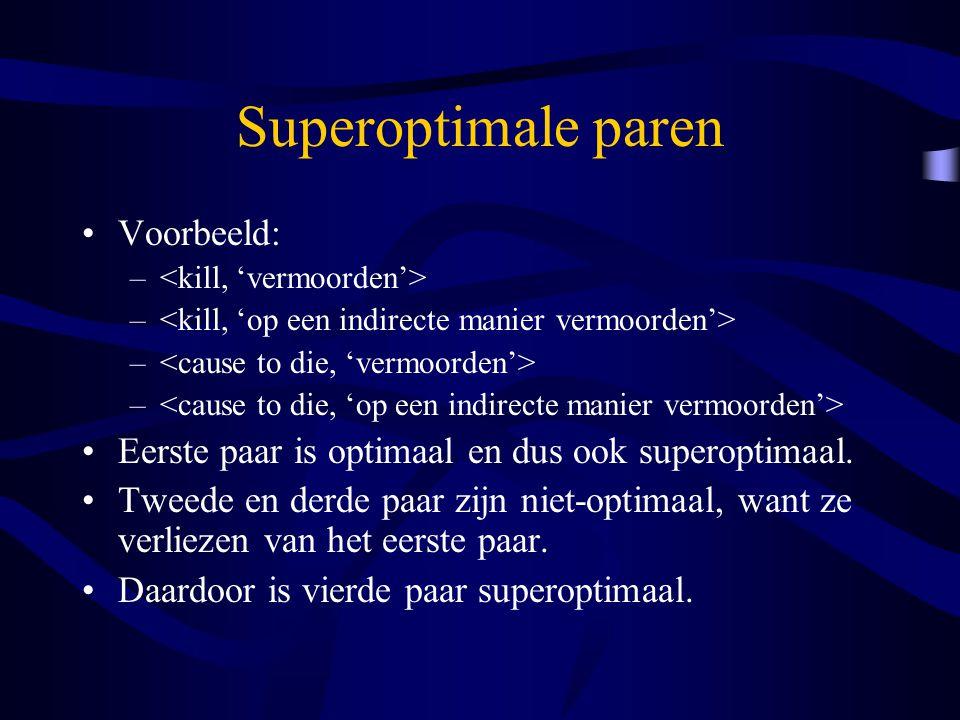 Superoptimale paren Voorbeeld: – Eerste paar is optimaal en dus ook superoptimaal.