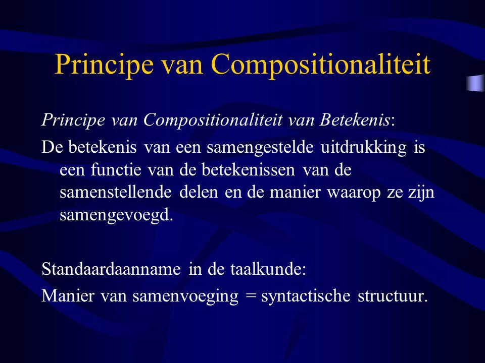 Principe van Compositionaliteit Principe van Compositionaliteit van Betekenis: De betekenis van een samengestelde uitdrukking is een functie van de betekenissen van de samenstellende delen en de manier waarop ze zijn samengevoegd.