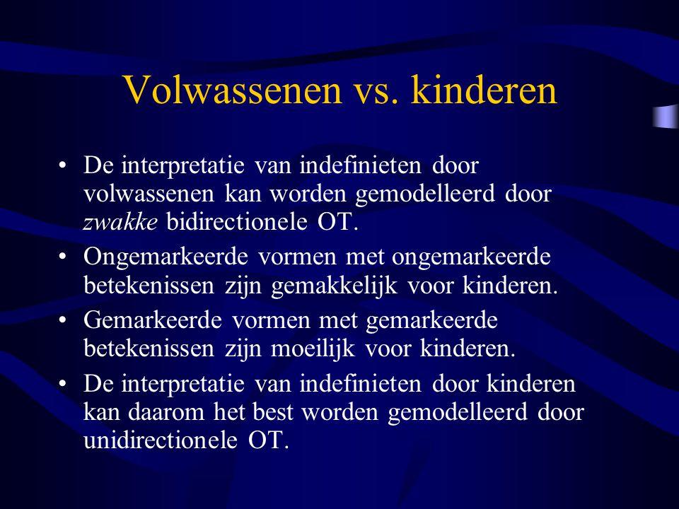 Volwassenen vs. kinderen De interpretatie van indefinieten door volwassenen kan worden gemodelleerd door zwakke bidirectionele OT. Ongemarkeerde vorme