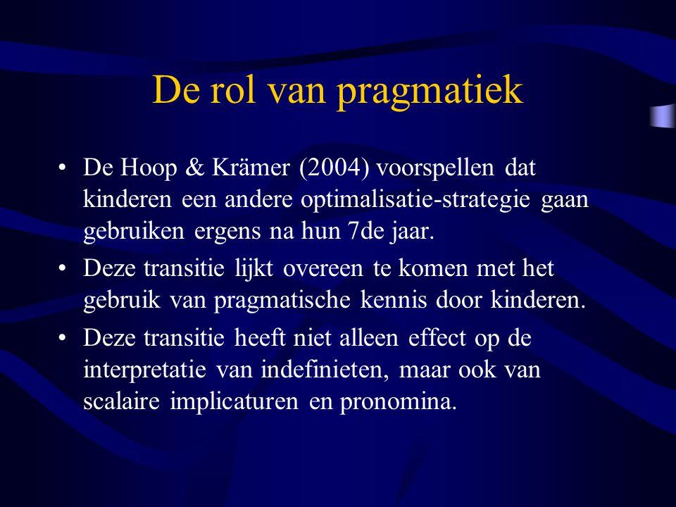 De rol van pragmatiek De Hoop & Krämer (2004) voorspellen dat kinderen een andere optimalisatie-strategie gaan gebruiken ergens na hun 7de jaar.