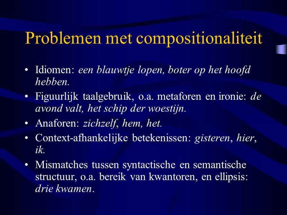 Problemen met compositionaliteit Idiomen: een blauwtje lopen, boter op het hoofd hebben. Figuurlijk taalgebruik, o.a. metaforen en ironie: de avond va