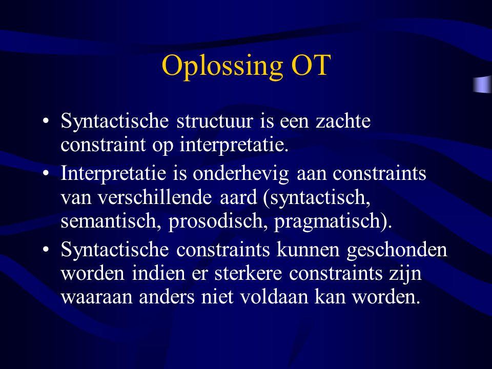 Oplossing OT Syntactische structuur is een zachte constraint op interpretatie. Interpretatie is onderhevig aan constraints van verschillende aard (syn