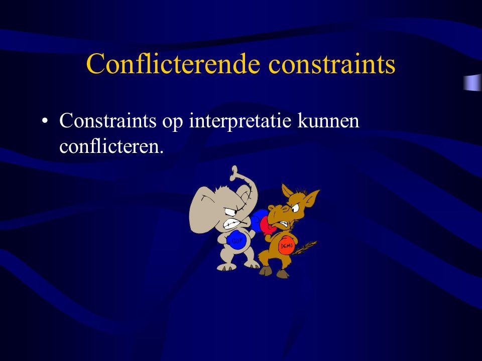 Conflicterende constraints Constraints op interpretatie kunnen conflicteren.