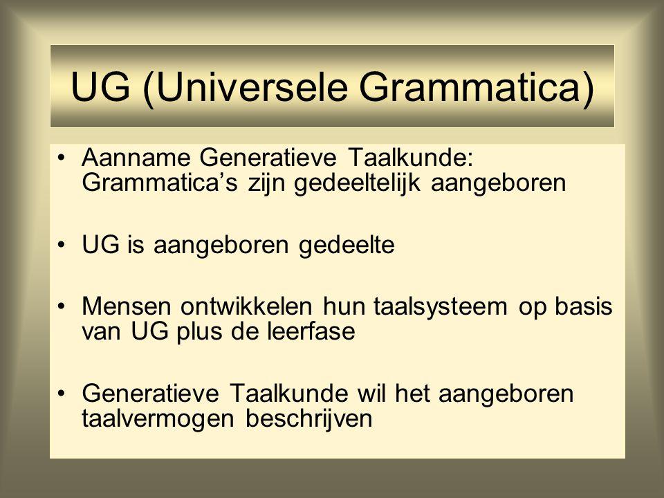 UG (Universele Grammatica) Aanname Generatieve Taalkunde: Grammatica's zijn gedeeltelijk aangeboren UG is aangeboren gedeelte Mensen ontwikkelen hun t
