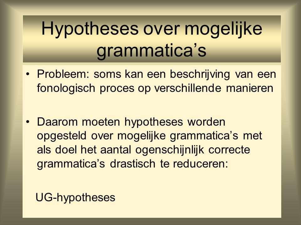 Hypotheses over mogelijke grammatica's Probleem: soms kan een beschrijving van een fonologisch proces op verschillende manieren Daarom moeten hypothes