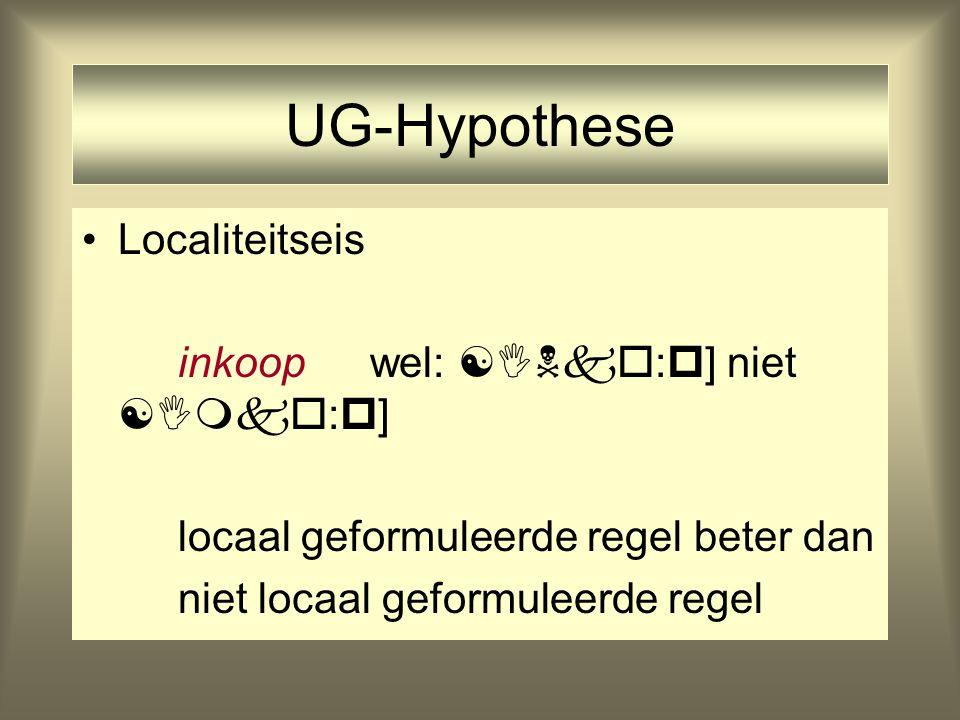 UG-Hypothese Localiteitseis inkoopwel:  :  ] niet  :  ] locaal geformuleerde regel beter dan niet locaal geformuleerde regel