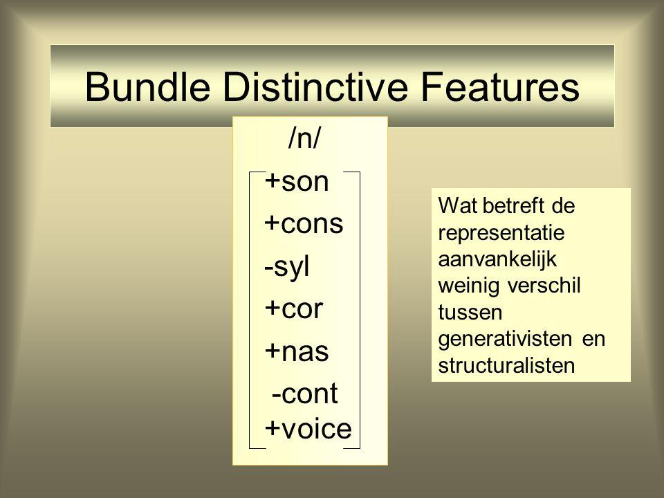Bundle Distinctive Features /n/ +son +cons -syl +cor +nas -cont +voice Wat betreft de representatie aanvankelijk weinig verschil tussen generativisten