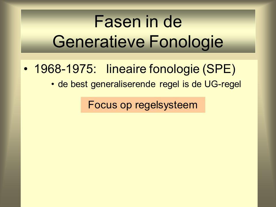 Fasen in de Generatieve Fonologie 1968-1975: lineaire fonologie (SPE) de best generaliserende regel is de UG-regel Focus op regelsysteem