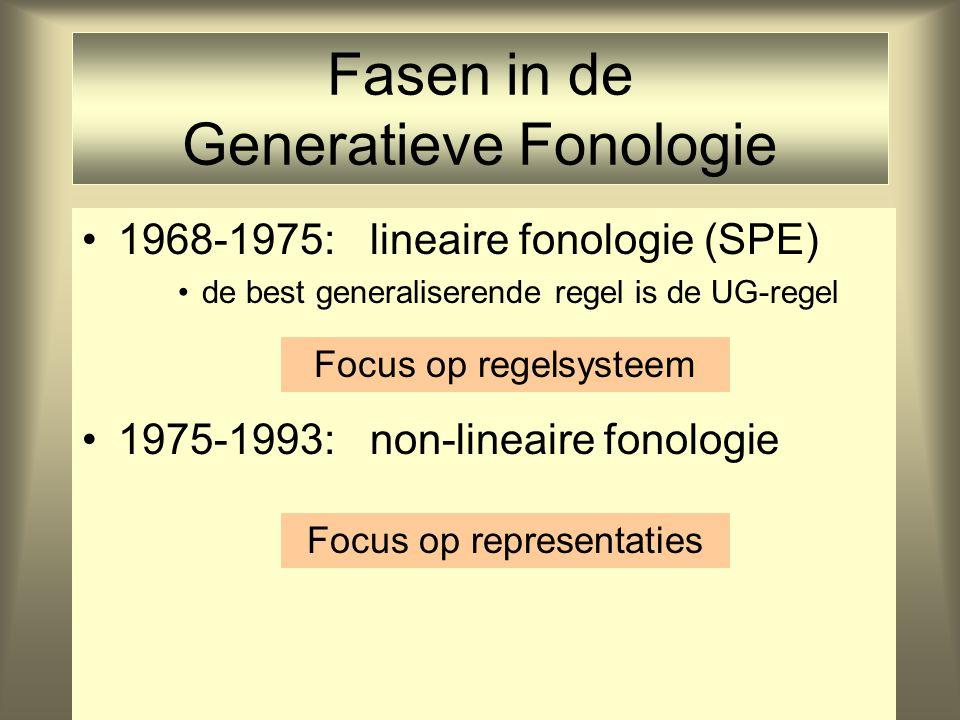 Fasen in de Generatieve Fonologie 1968-1975: lineaire fonologie (SPE) de best generaliserende regel is de UG-regel 1975-1993: non-lineaire fonologie F