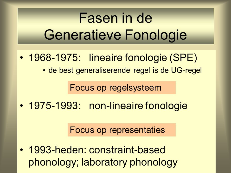 Fasen in de Generatieve Fonologie 1968-1975: lineaire fonologie (SPE) de best generaliserende regel is de UG-regel 1975-1993: non-lineaire fonologie 1