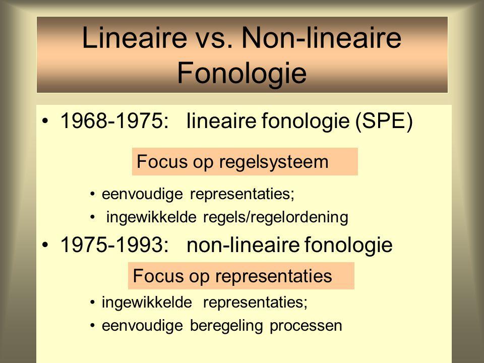 Lineaire vs. Non-lineaire Fonologie 1968-1975: lineaire fonologie (SPE) eenvoudige representaties; ingewikkelde regels/regelordening 1975-1993: non-li