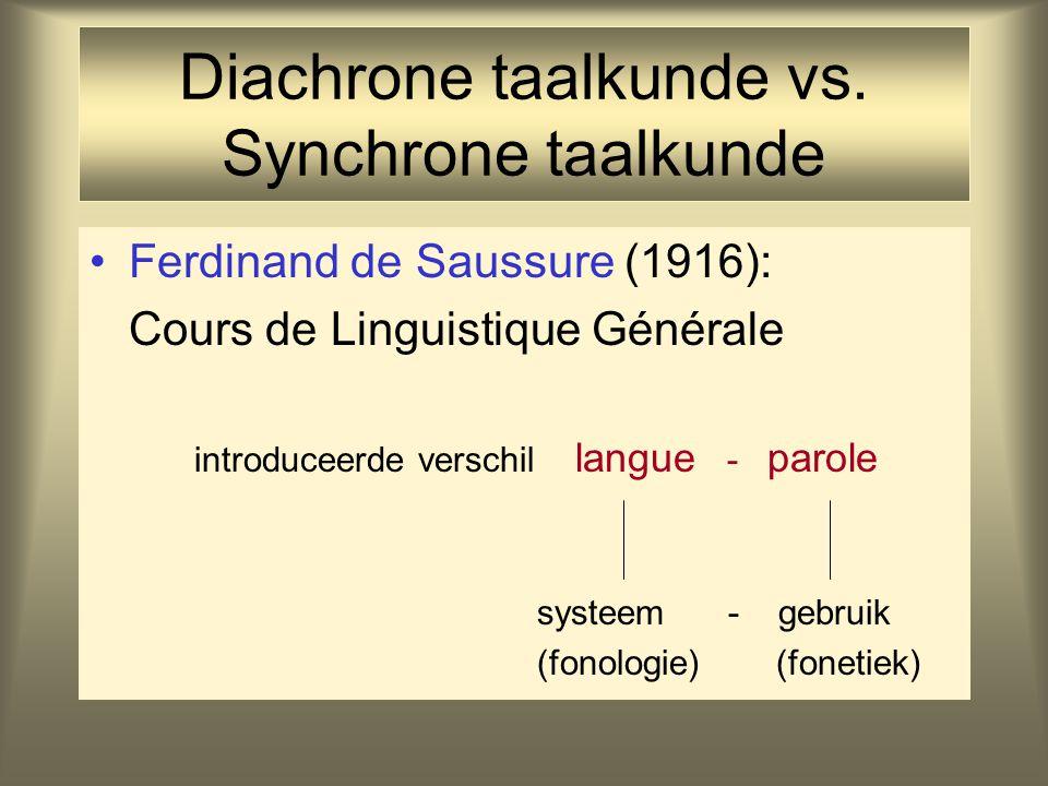 Diachrone taalkunde vs. Synchrone taalkunde Ferdinand de Saussure (1916): Cours de Linguistique Générale introduceerde verschil langue - parole systee