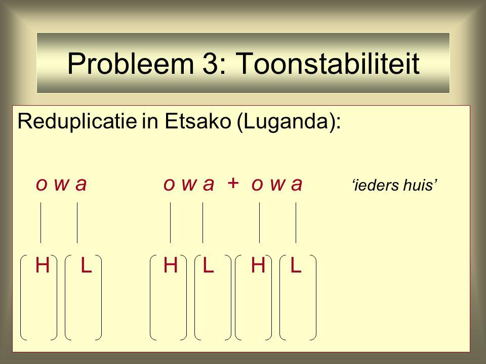 Probleem 3: Toonstabiliteit Reduplicatie in Etsako (Luganda): o w ao w a + o w a 'ieders huis' H LH L H L