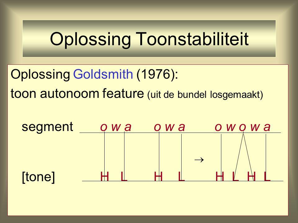 Oplossing Toonstabiliteit Oplossing Goldsmith (1976): toon autonoom feature (uit de bundel losgemaakt) segmento w a o w a o w o w a [tone] H L H L H L