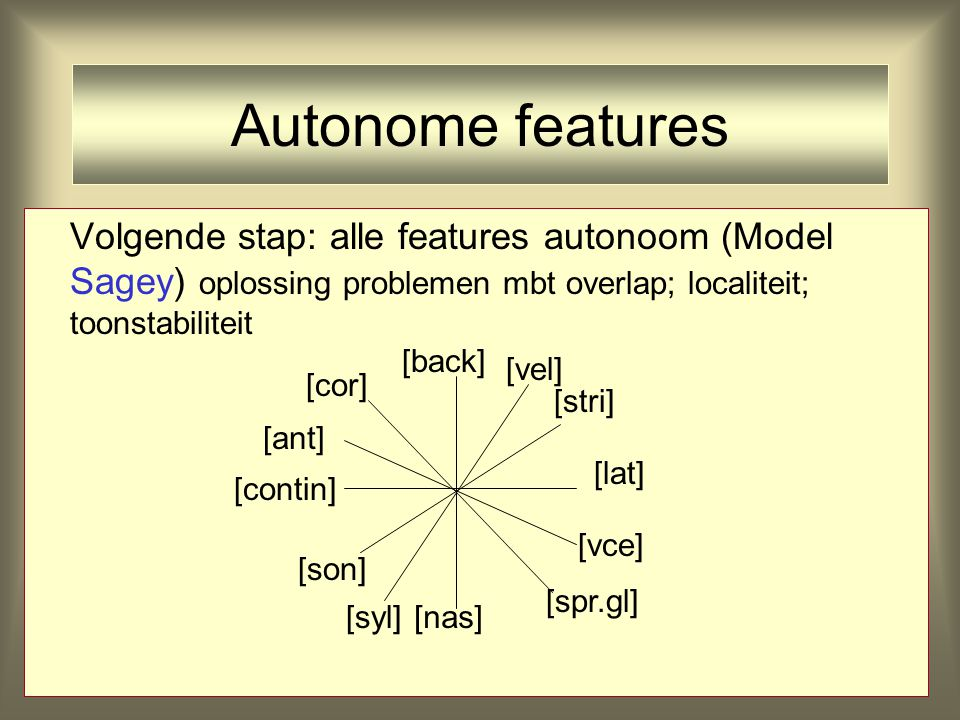 Autonome features Volgende stap: alle features autonoom (Model Sagey) oplossing problemen mbt overlap; localiteit; toonstabiliteit [back] [vel] [stri]