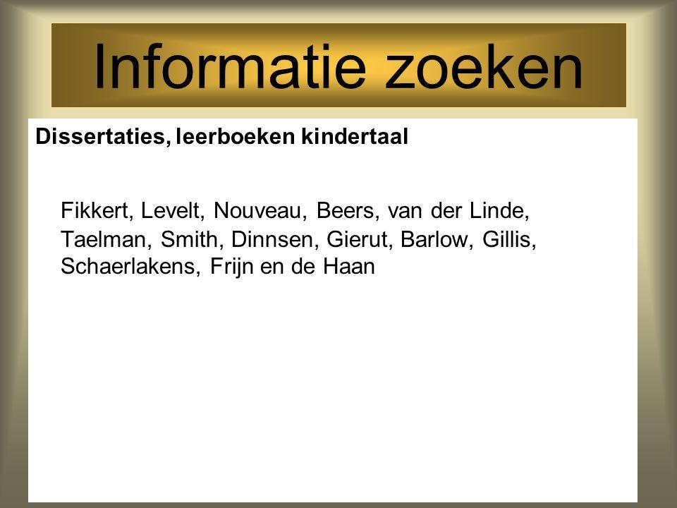 Informatie zoeken Dissertaties, leerboeken kindertaal Fikkert, Levelt, Nouveau, Beers, van der Linde, Taelman, Smith, Dinnsen, Gierut, Barlow, Gillis,