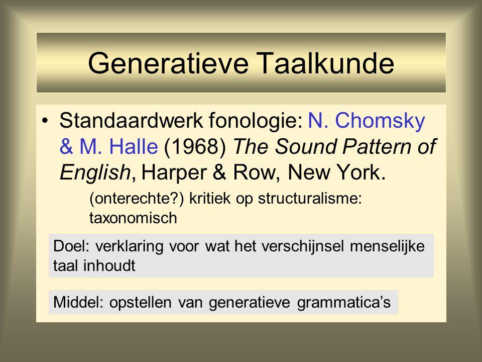 Generatieve Grammatica's Grammatica = beschrijving van het taalsysteem van de individuele gebruiker; beschrijving van wat sprekers van een taal (vaak onbewust) van die taal weten Generatief = systeem van expliciete regels