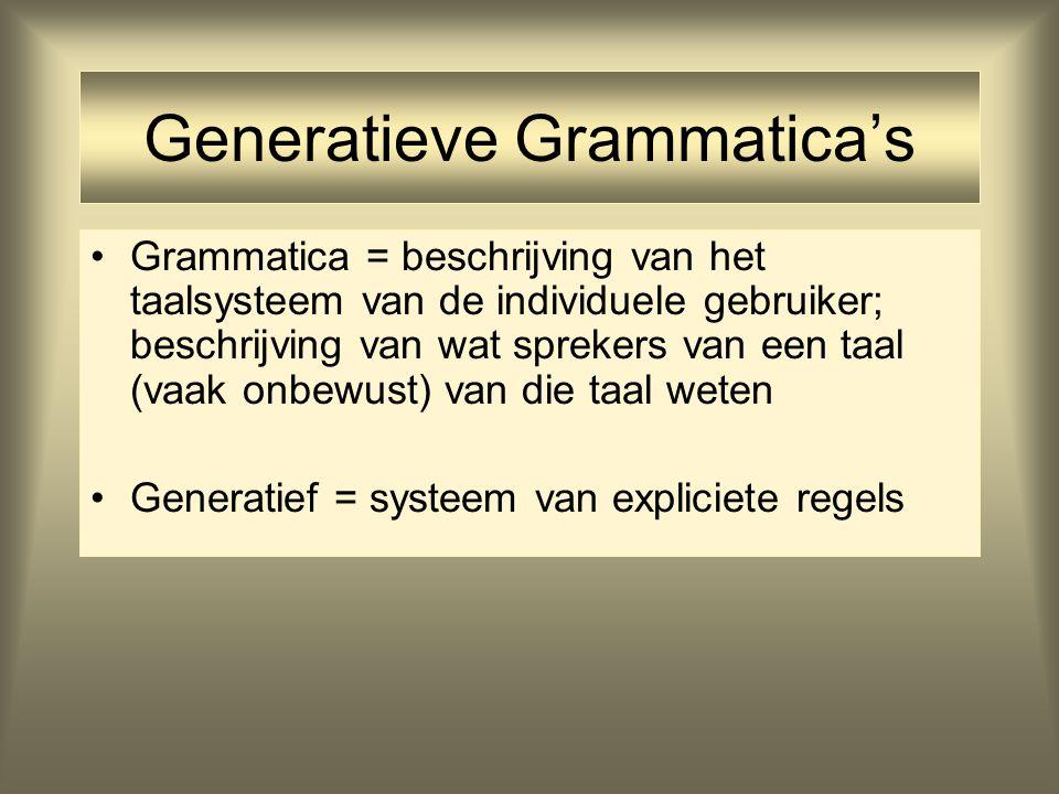 UG (Universele Grammatica) Aanname Generatieve Taalkunde: Grammatica's zijn gedeeltelijk aangeboren UG is aangeboren gedeelte Mensen ontwikkelen hun taalsysteem op basis van UG plus de leerfase Generatieve Taalkunde wil het aangeboren taalvermogen beschrijven