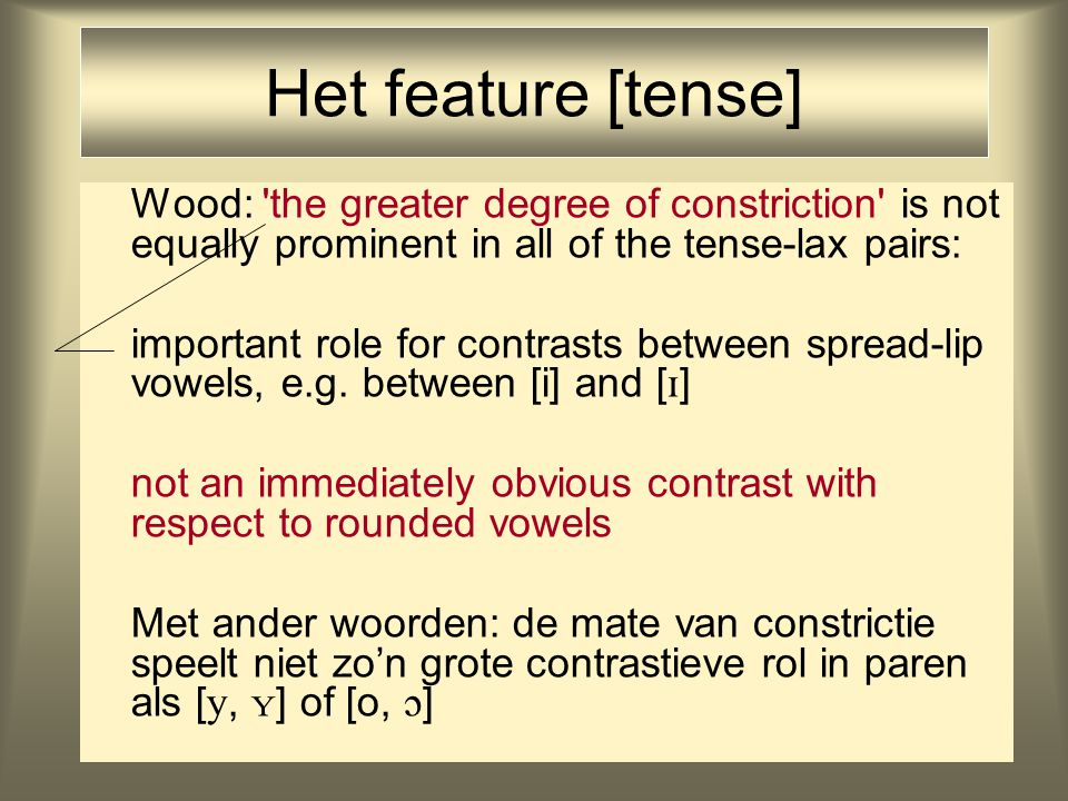 Het feature [tense] Wood: 'the greater degree of constriction' is not equally prominent in all of the tense-lax pairs: important role for contrasts be