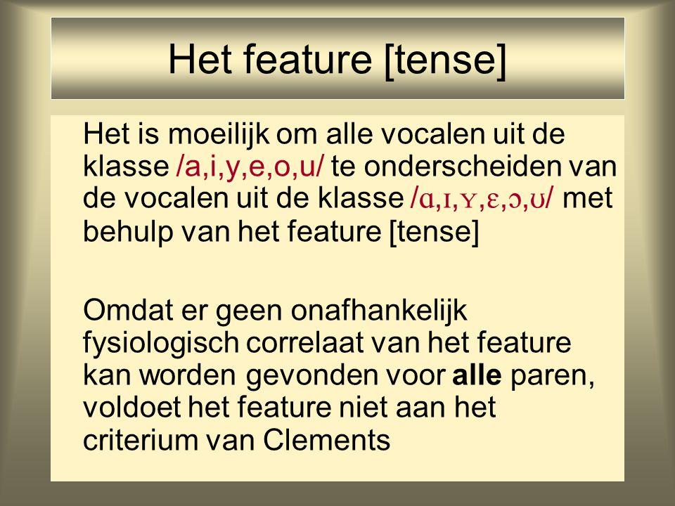 Het feature [tense] Het is moeilijk om alle vocalen uit de klasse /a,i,y,e,o,u/ te onderscheiden van de vocalen uit de klasse / , , , , ,  / met