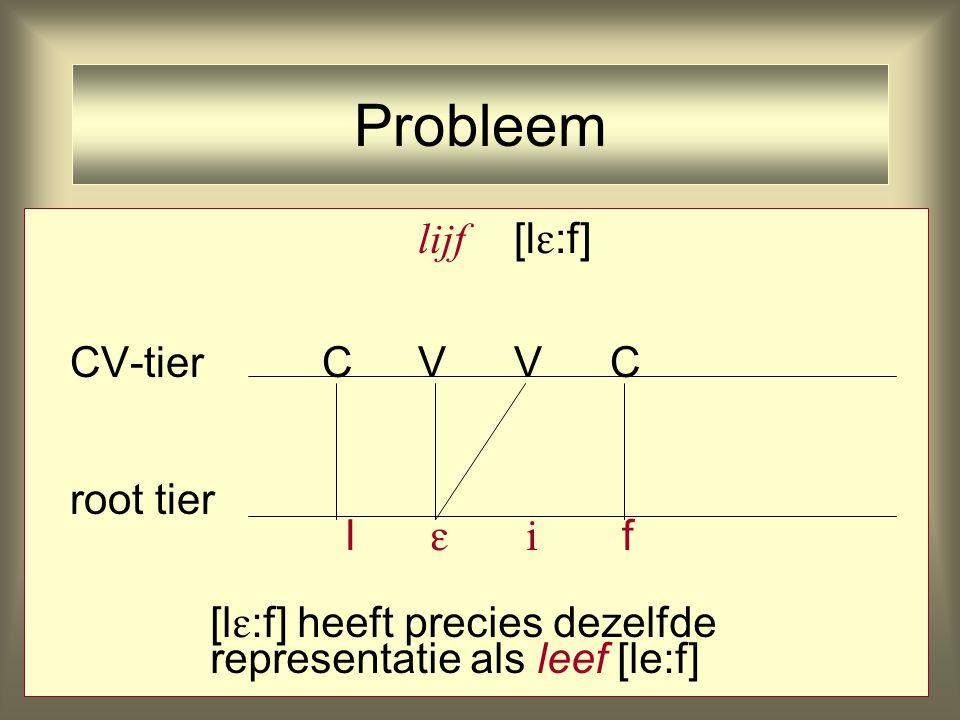 lijf [l  :f] CV-tierCVVC root tier l   f Probleem [l  :f] heeft precies dezelfde representatie als leef [le:f]
