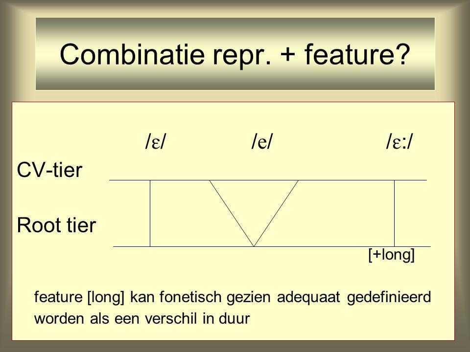 /  //  / /  :/ CV-tier Root tier [+long] feature [long] kan fonetisch gezien adequaat gedefinieerd worden als een verschil in duur Combinatie repr.