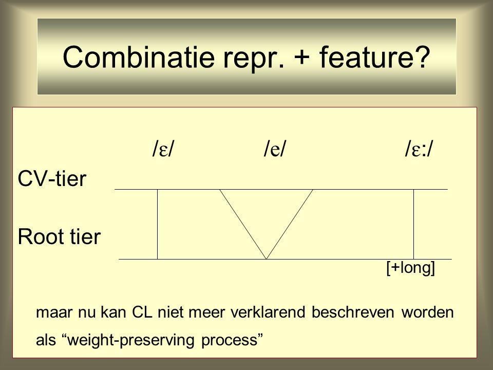 /  //  / /  :/ CV-tier Root tier [+long] maar nu kan CL niet meer verklarend beschreven worden als weight-preserving process Combinatie repr.