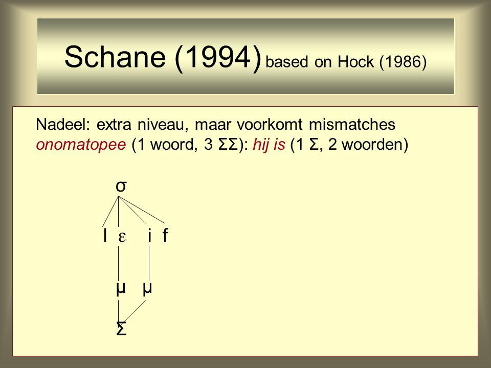 Nadeel: extra niveau, maar voorkomt mismatches onomatopee (1 woord, 3 ΣΣ): hij is (1 Σ, 2 woorden) σ l  i f μ Σ Schane (1994) based on Hock (1986)