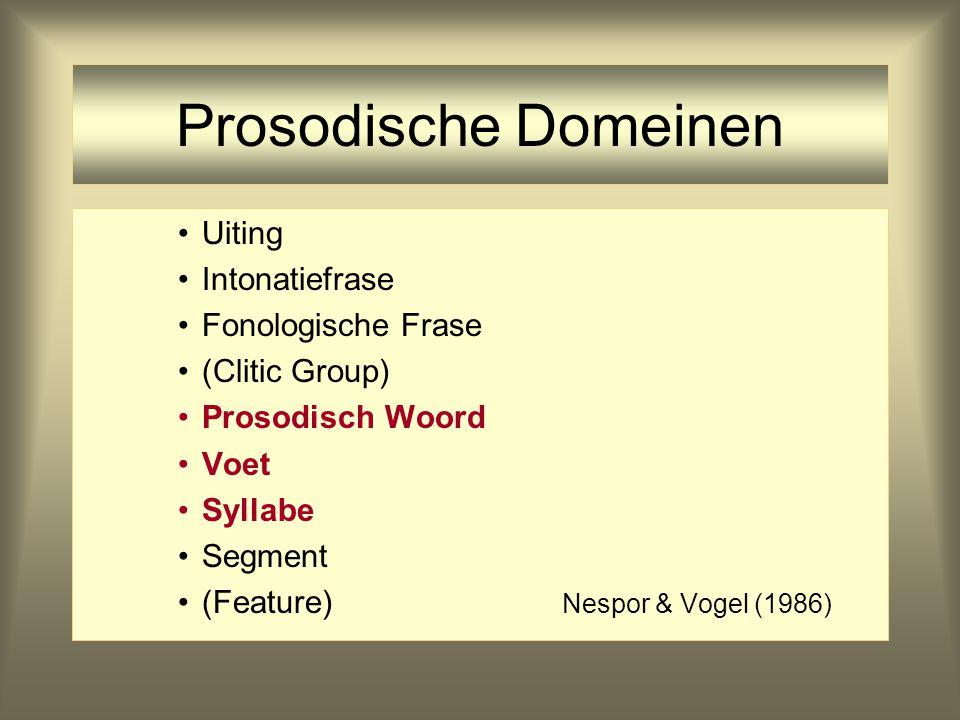 Prosodische Domeinen Uiting Intonatiefrase Fonologische Frase (Clitic Group) Prosodisch Woord Voet Syllabe Segment (Feature) Nespor & Vogel(1986)