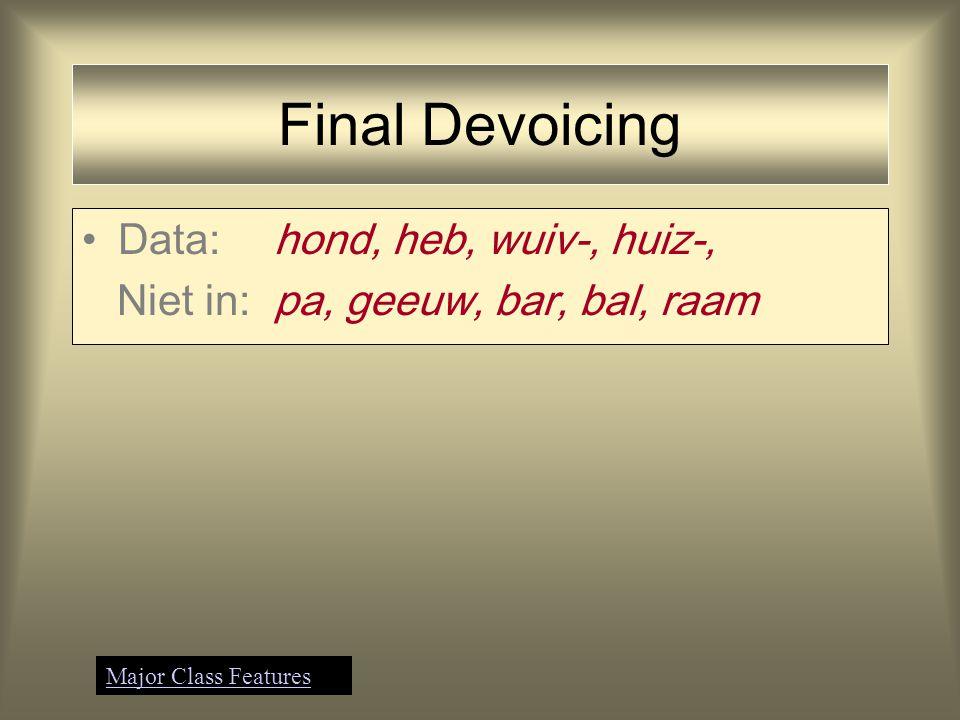terug naar: Final Devoicing Data:hond, heb, lev-, reiz-, brand, rib, wuiv-, huiz- /d/  [t]; /b/  [p]; /v/  [f]; /z/  [s] mist generalisatie Major Class Features