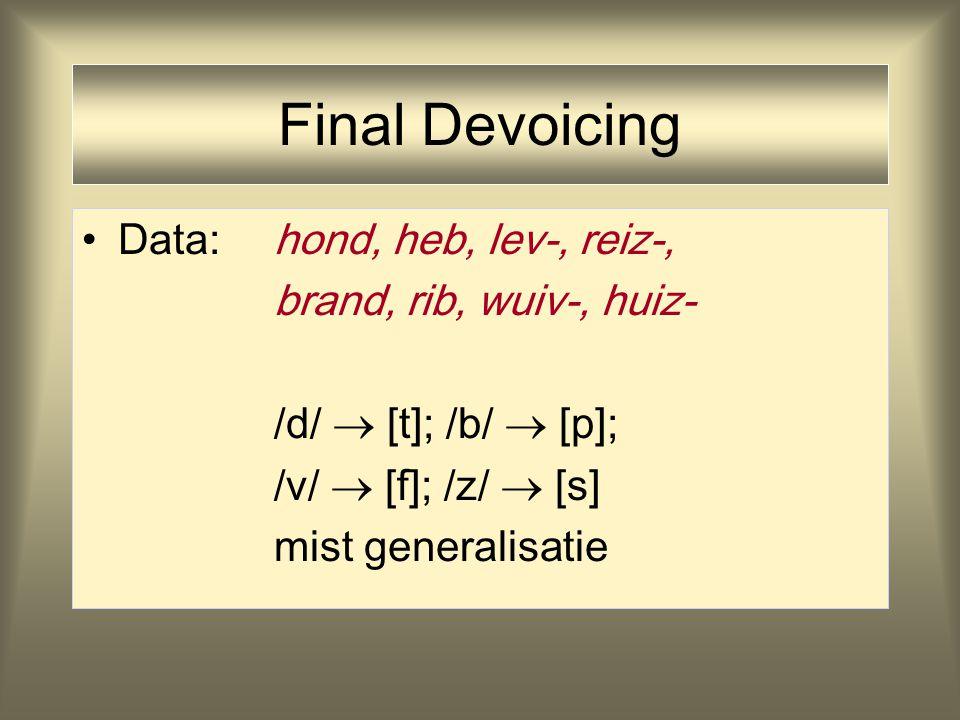 Onderliggende Vorm Onderliggende vorm/h  nd/ /h  nd +  n/ –uniek, constant   Oppervlaktevorm[h  nt] [h  nd  n] –variabel, geconditioneerd argument aanname onderliggende vorm en regels: je past ze ook toe bij nieuwvormingen/nonsens twee blanden - een bland [bl  nt]