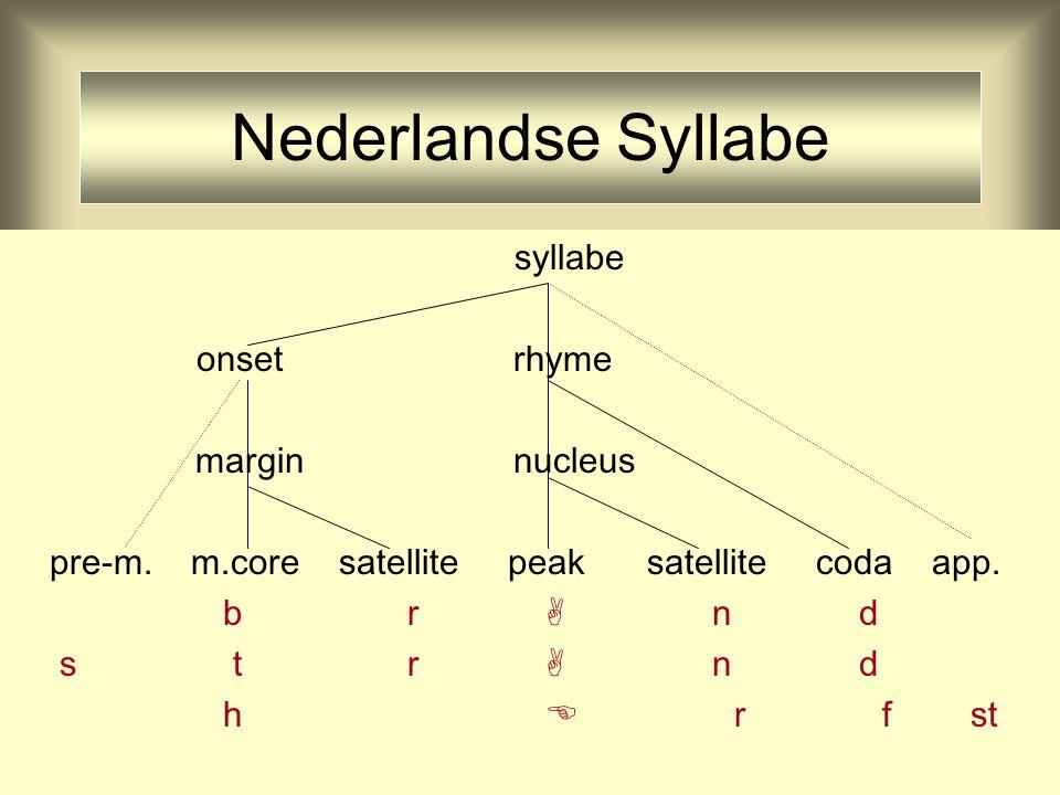 Syllabe en Sonority Slope syllabe onset rhyme margin nucleus m.core satellite peak satellite coda b r  n d s m  r f