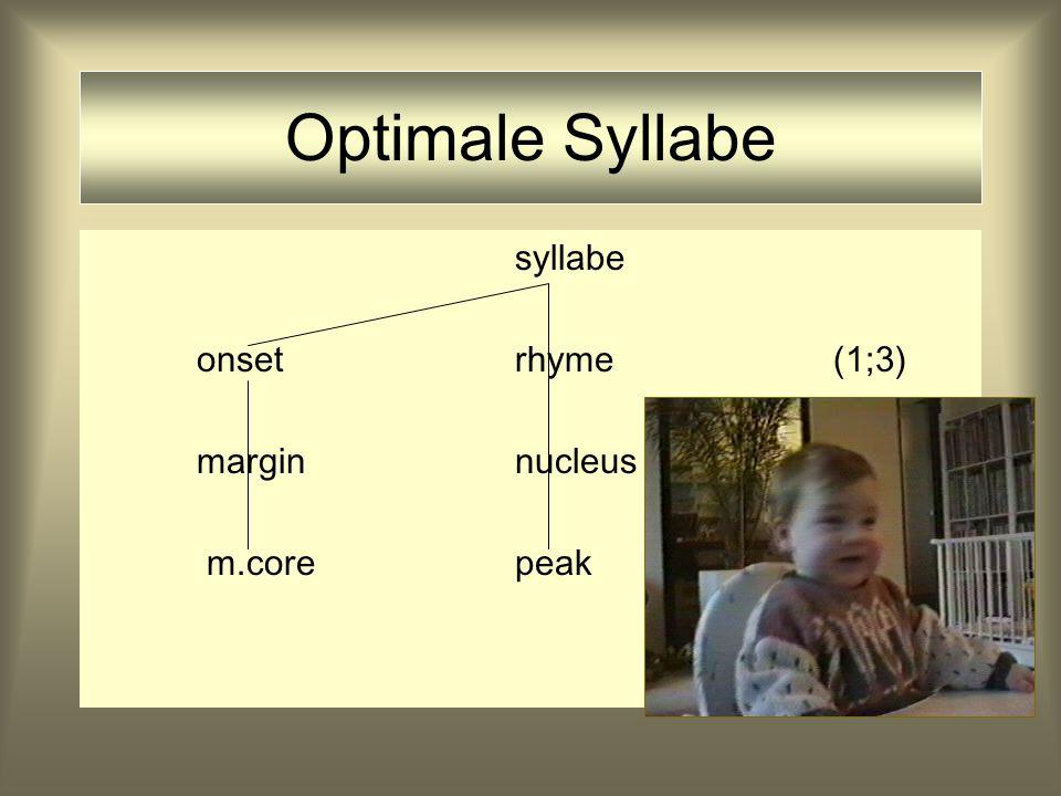 Optimale Syllabe syllabe onsetrhyme(1;2) marginnucleus m.core peak