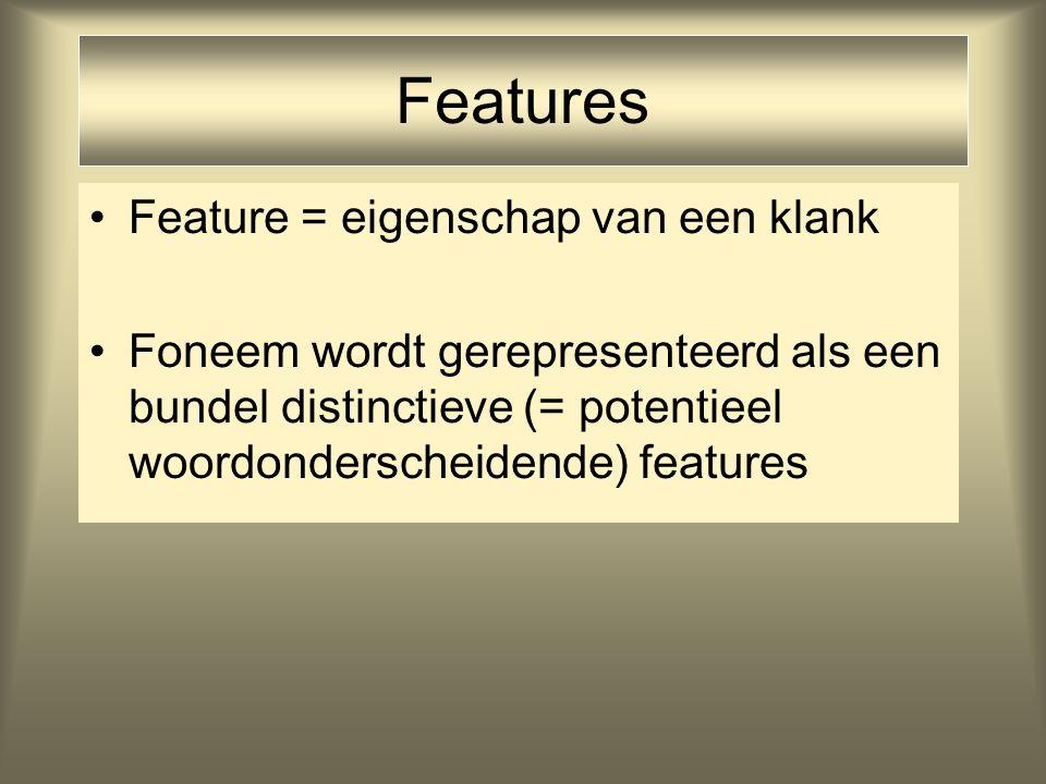 Features Feature = eigenschap van een klank