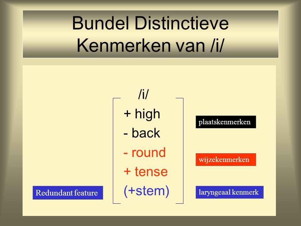 Features Feature = eigenschap van een klank Foneem wordt gerepresenteerd als een bundel distinctieve (= potentieel woordonderscheidende) features