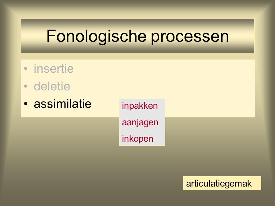 Fonologische processen insertie deletie assimilatie inpakken aanjagen inkopen articulatiegemak