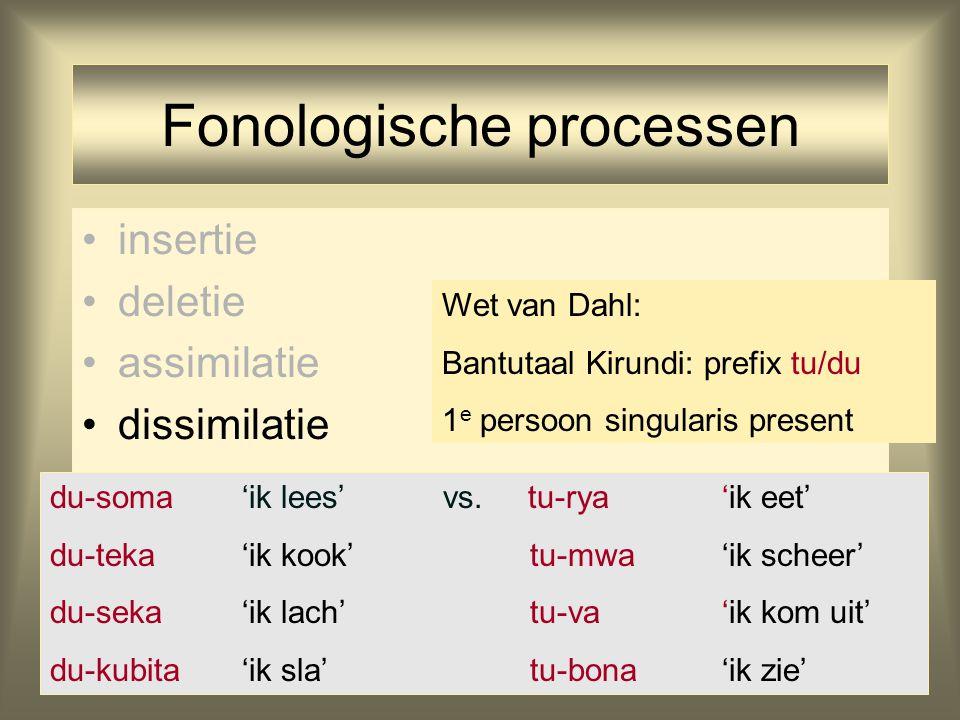 Fonologische processen insertie deletie assimilatie dissimilatie du-soma'ik lees' vs. tu-rya'ik eet' du-teka'ik kook'tu-mwa'ik scheer' du-seka'ik lach